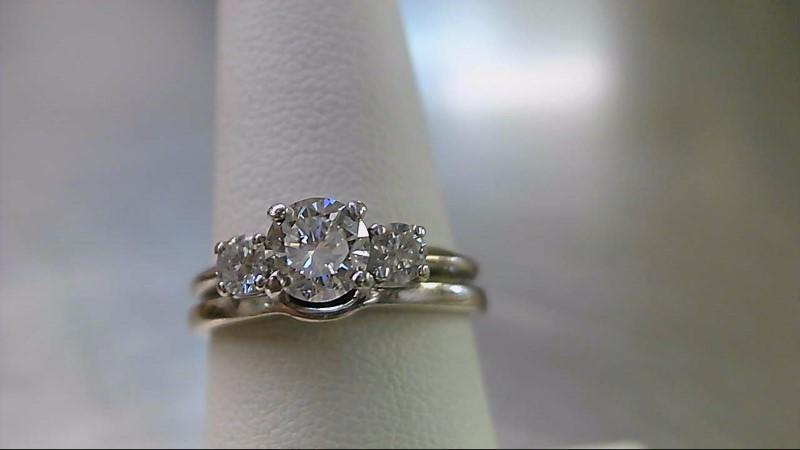 Lady's Diamond Wedding Band 3 Diamonds .87 Carat T.W. 14K White Gold 4.85g