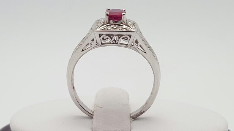 Ruby Lady's Stone & Diamond Ring 15 Diamonds .15 Carat T.W. 14K White Gold 3.5g