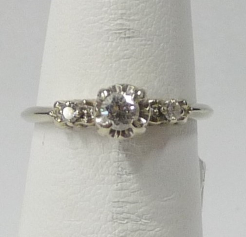 Lady's Diamond Engagement Ring 3 Diamonds .19 Carat T.W. 14K White Gold 1.21dwt