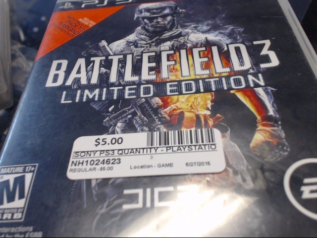 SONY PS3 BATTLEFIELD 3 LIM EDIT