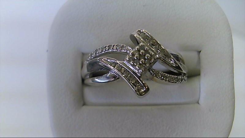 ESTATE SS-SIZE 7 1/2- APPX 1/4CTTW ROUND DIAMOND LADIES RING