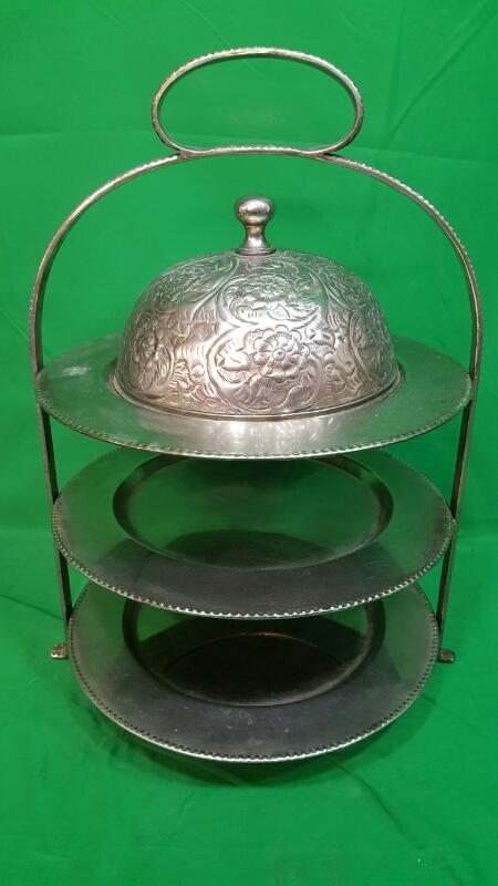 INTERNATIONAL SILVER COMPANY THREE TIER SERVINIG PLATTER WITH LID