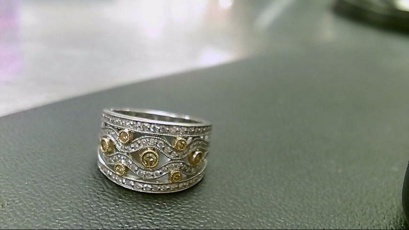 Lady's Diamond Cluster Ring 67 Diamonds 1.30 Carat T.W. 14K White Gold 9.4g