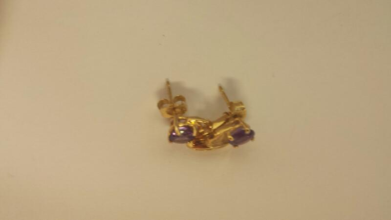 Purple Stone Gold-Diamond & Stone Earrings 2 Diamonds .02 Carat T.W.