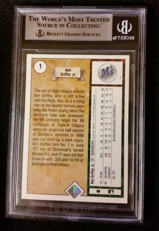 1989 Ken Griffey Jr. #1 Upper Deck Rookie Beckett Graded 8.5 NM-M+