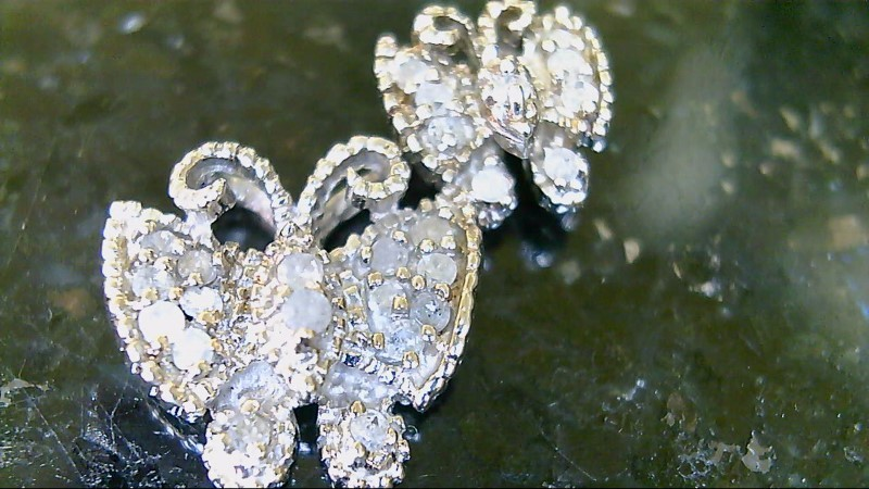 ESTATE SS MARQ AND ROUND DIAMOND DOUBLE BUTTERFLY PENDANT