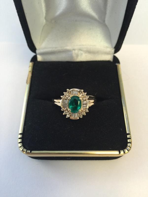 Synthetic Emerald Lady's Stone & Diamond Ring 31 Diamonds .31 Carat T.W.