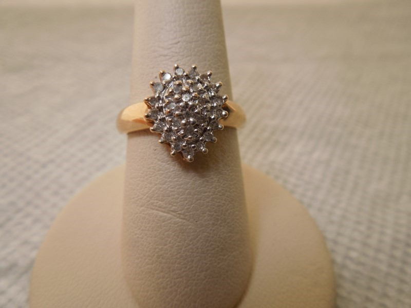 Lady's Diamond Cluster Ring 27 Diamonds .54 Carat T.W. 10K Yellow Gold 2.8g