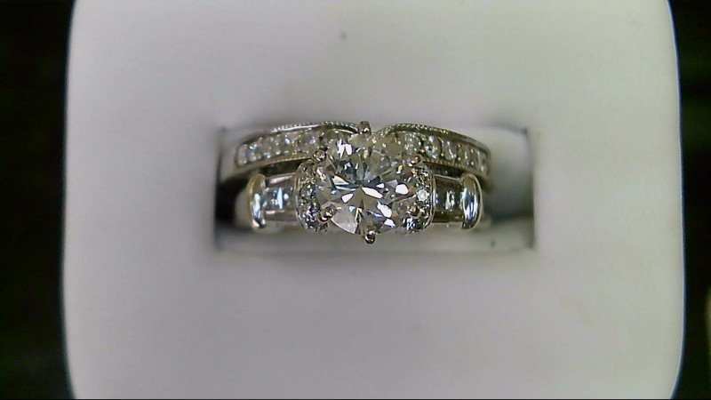 Lady's Diamond Wedding Set 35 Diamonds 1.42 Carat T.W. 14K White Gold 6.9g