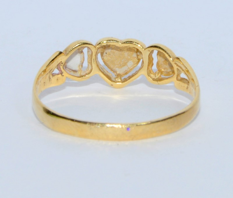 14K Yellow Gold Diamond Cut Dainty 3 Heart Ring s. 6