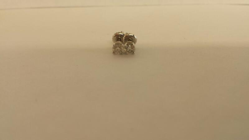 Gold-Diamond Earrings 2 Diamonds .40 Carat T.W. 14K White Gold 0.05dwt