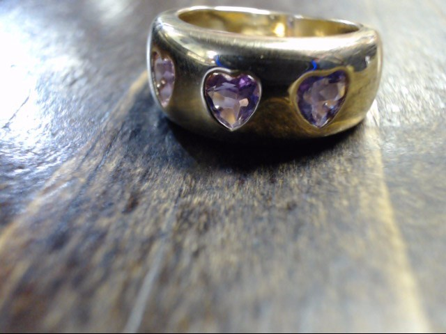 Purple Stone Lady's Stone Ring 14K Yellow Gold 6.8g Size:6