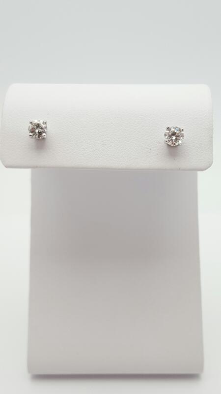 Gold-Diamond Earrings 2 Diamonds .62 Carat T.W. 14K White Gold 0.8g