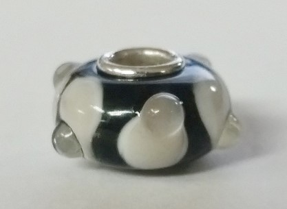 Black & White Spotted Silver & Glass European Bead Charm
