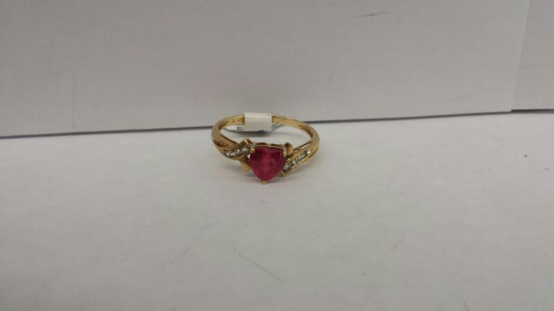 10k Yellow Gold Ring with a Red Heart and 6 Diamond Chips