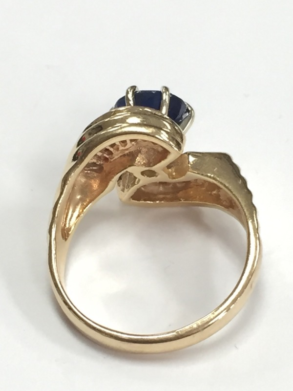 SAPPHIRE & DIAMOND MODERN 14K YELLOW GOLD RING SIZE 7
