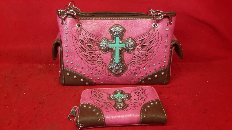 Ladies Pink / Brown Faux Leather w/ Wallet