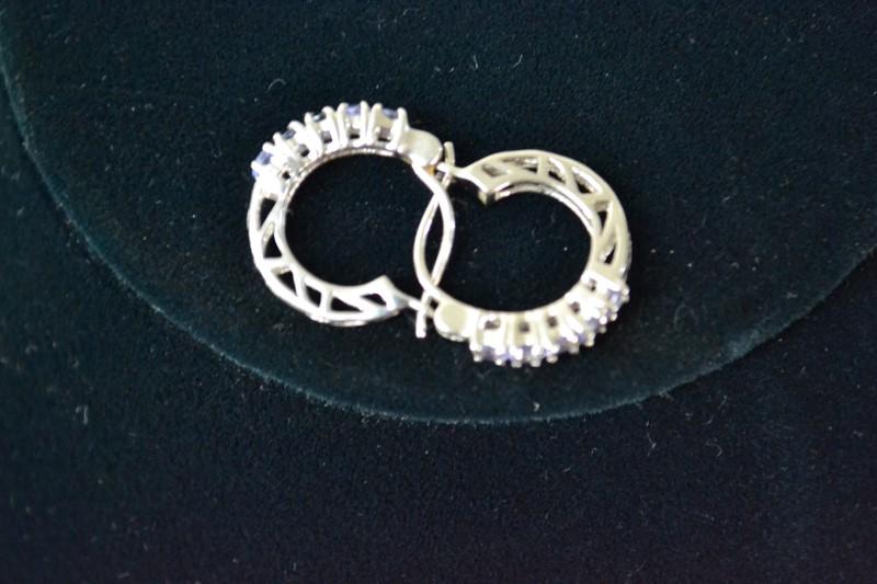 Gold-Stone Earrings 14K White Gold 2.3g