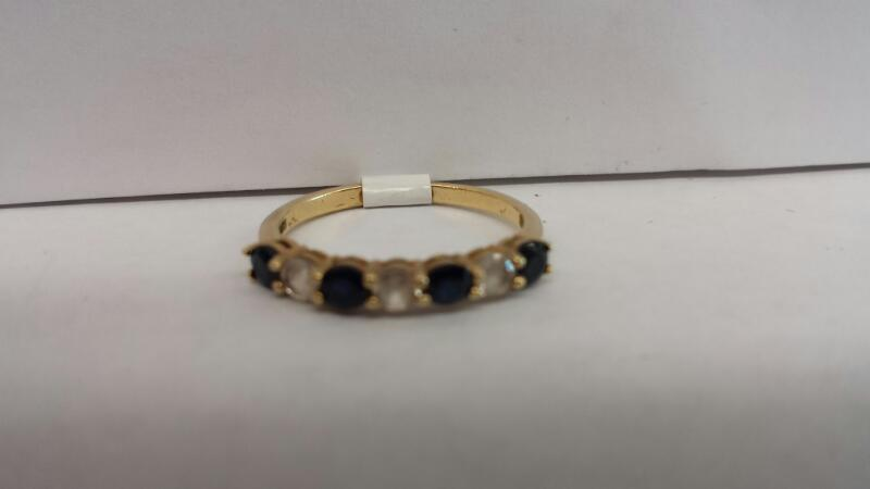10k Yellow Gold Ring with 4 Blue Stones and 4 Clear Stones