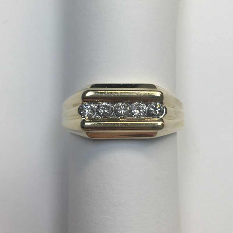 Gent's Diamond Fashion Ring 5 Diamonds .50 Carat T.W. 14K Yellow Gold 4.2dwt
