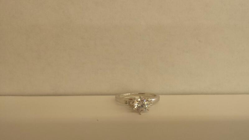 Synthetic Cubic Zirconia Lady's Platinum-Diamond & Stone Ring