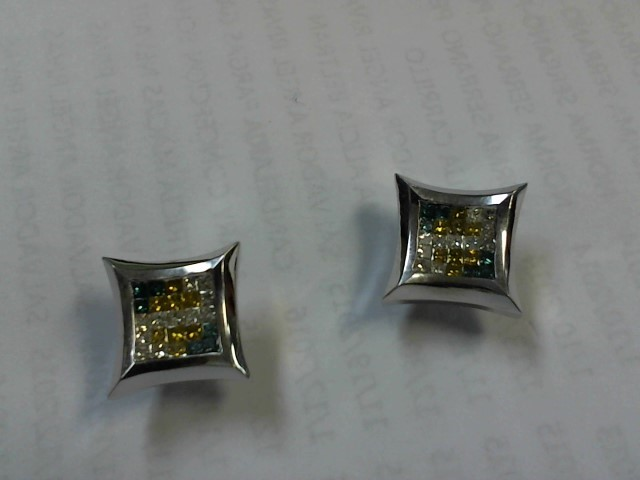 Gold-Diamond Earrings 50 Diamonds 1.00 Carat T.W. 14K White Gold 5.1g