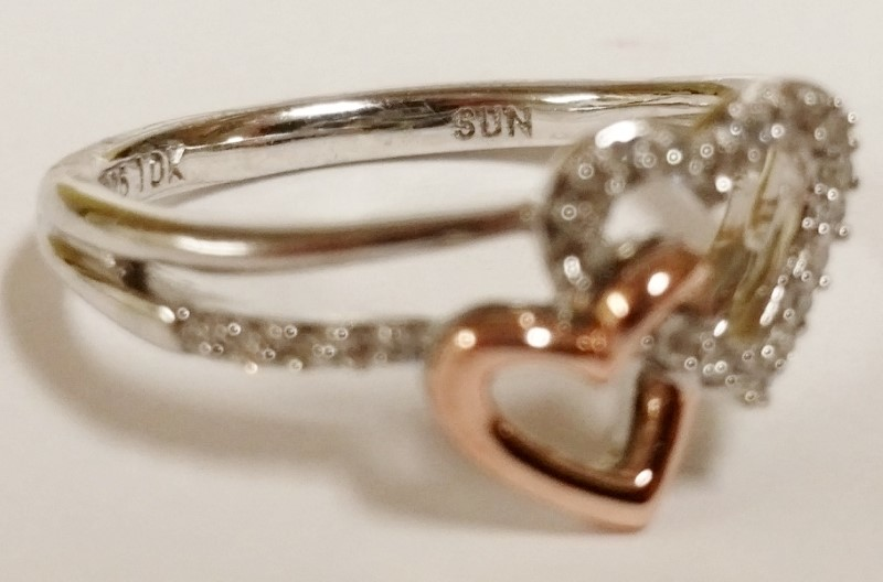 Sterling Silver, 10K Rose Gold & Diamond Double Heart Ring s. 6 Fall