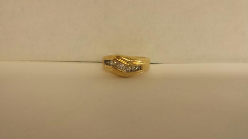 Gent's Diamond Fashion Ring 8 Diamonds .24 Carat T.W. 14K Yellow Gold 2.5dwt