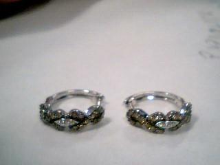 Gold-Diamond Earrings 50 Diamonds .94 Carat T.W. 14K White Gold 4g