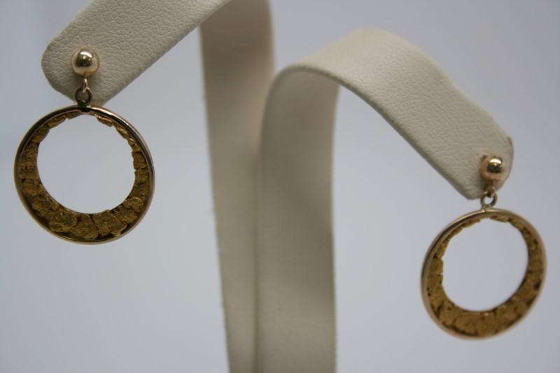 NUGGET STYLE HOOP EARRINGS 14K/24K YELLOW GOLD