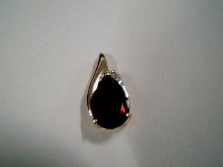 Synthetic Almandite Garnet Gold-Diamond & Stone Pendant .01 CT. 10K Yellow Gold