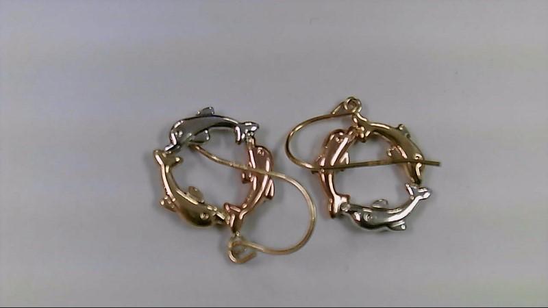 Gold Earrings 10K 2 Tone Gold 1.3g