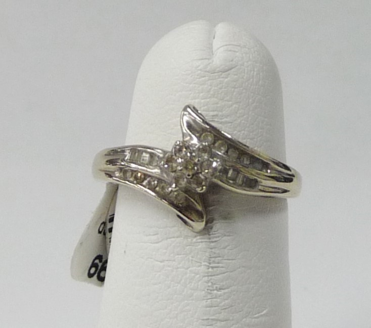 Lady's Diamond Engagement Ring 25 Diamonds .75 Carat T.W. 10K White Gold