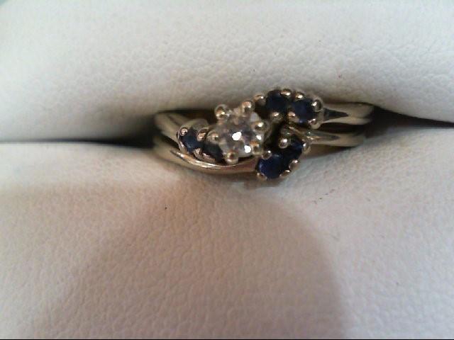 Sapphire Lady's Stone & Diamond Ring .15 CT. 14K White Gold 4g