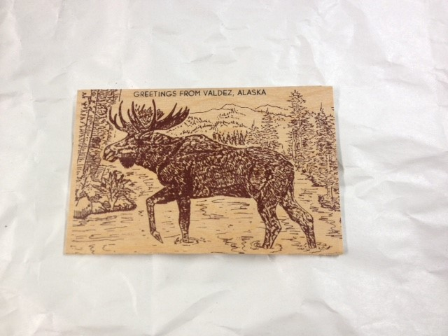 WOOD POSTCARD MOOSE-GREETINGS FROM VALDEZ