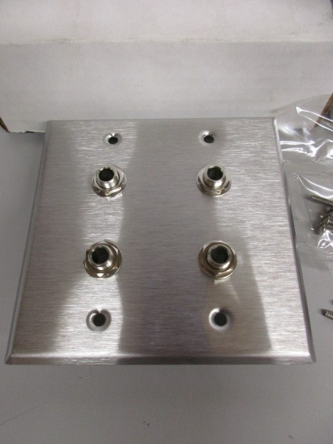 "LOT OF TWO (2) STAINLESS STEEL 4 1/4"" JACK WALL PLATE."