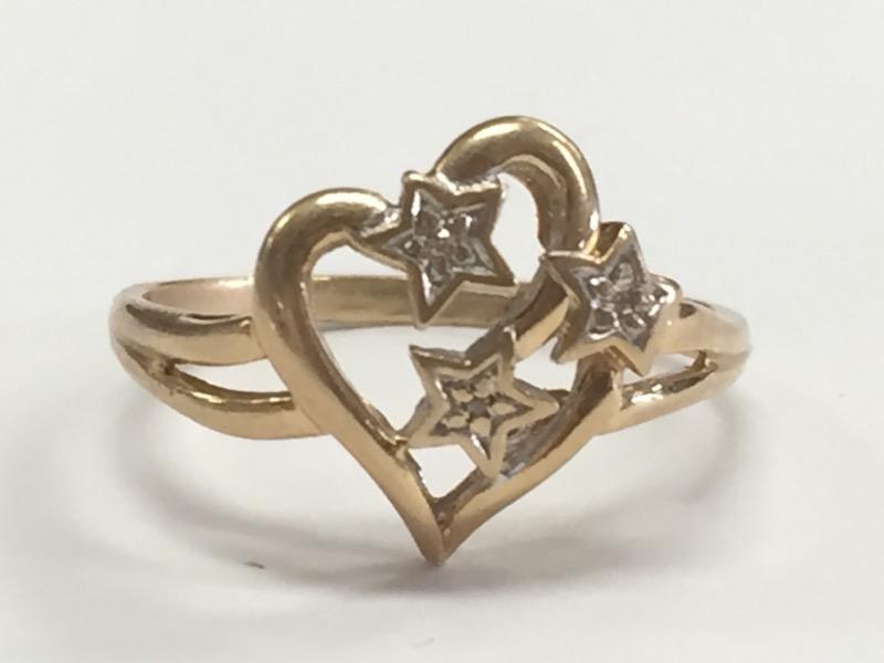 HEART & STARS DAZZLING DIAMOND 10K YELLOW GOLD RING SIZE 9.25
