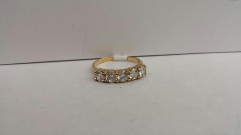 14k Yellow Gold Ring with 5 Clear Stones