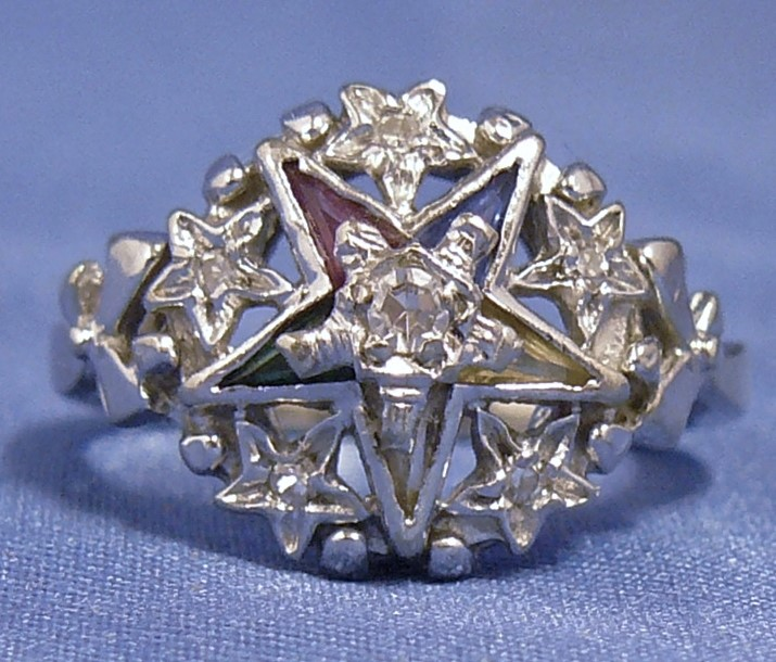 Vintage Order of the Eastern Star Diamonds & Gemstones Ladies Masonic 14K Ring