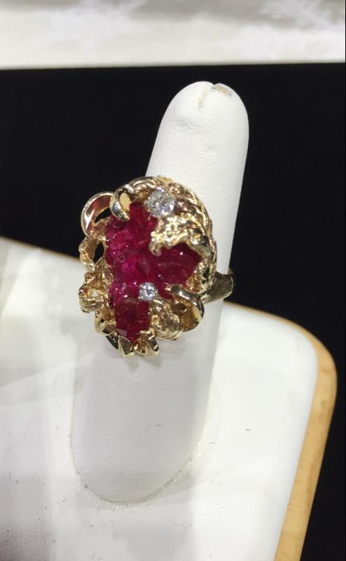 Ruby Lady's Stone & Diamond Ring 2 Diamonds .25 Carat T.W. 14K Yellow Gold