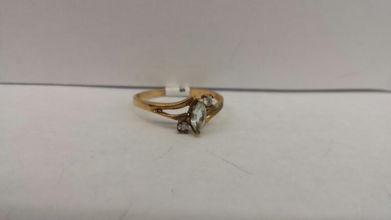 10k Yellow Gold Stone with 1 Clear Stone