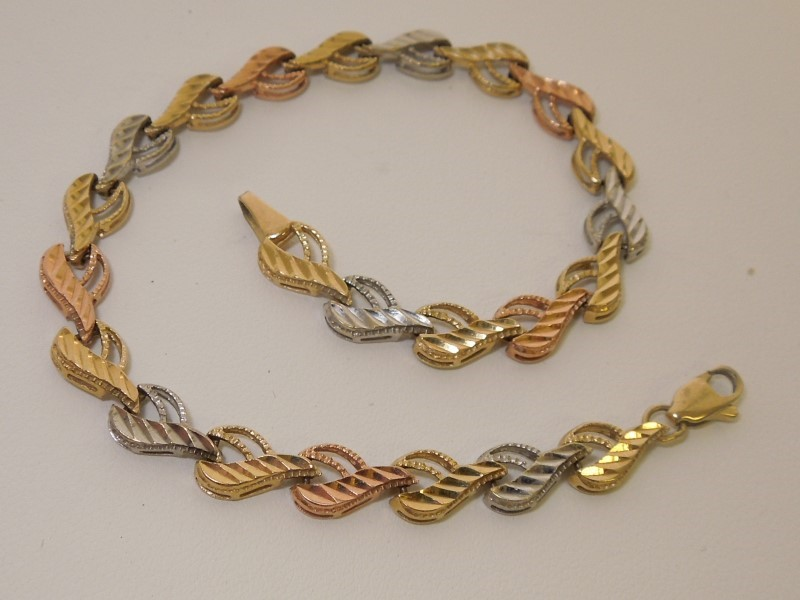 Gold Fashion Bracelet 14K Tri-color Gold 7g
