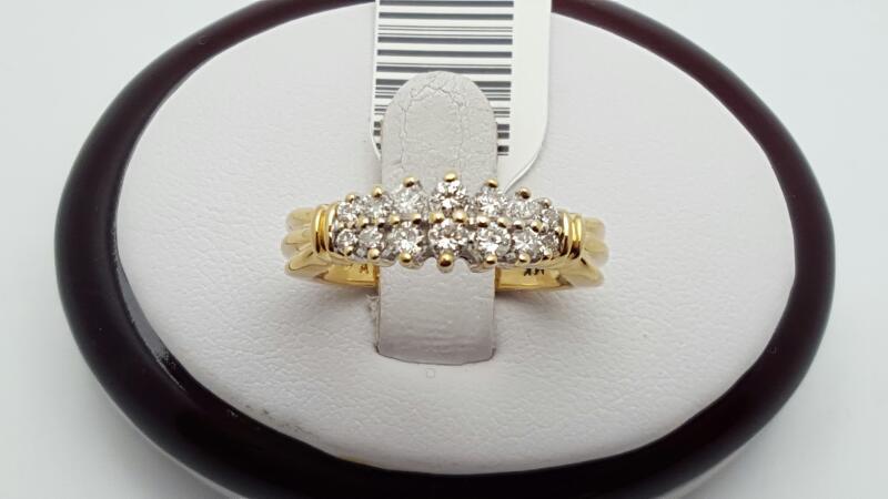 Lady's Diamond Cluster Ring 14 Diamonds .42 Carat T.W. 14K Yellow Gold 4.4g