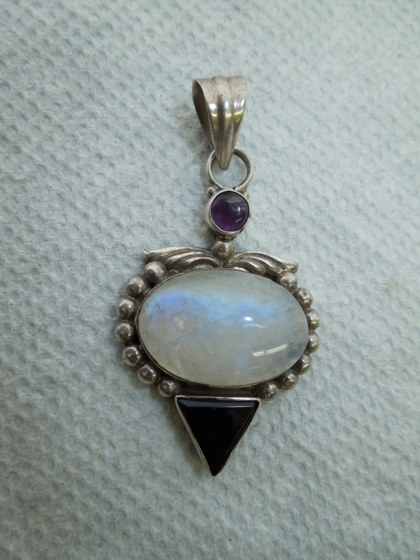 Synthetic Moonstone Silver-Stone Pendant 925 Silver 12.8g