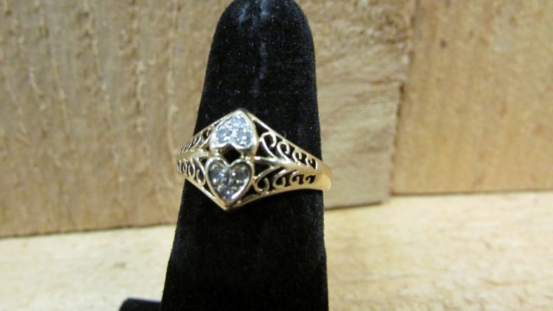 Lady's Diamond Fashion Ring 6 Diamonds 0.06 Carat T.W. 10K Yellow Gold 2.2g