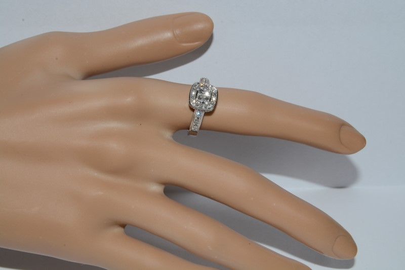 10K White Gold Princess Halo Cluster Engagement Ring w/ Filigree Accent Size: 6