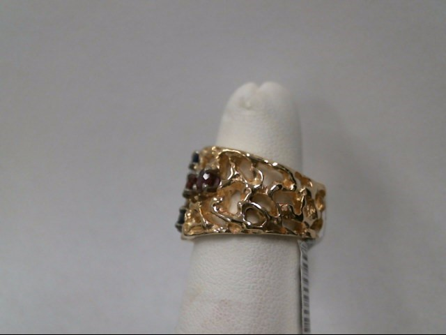 Red Stone Lady's Stone & Diamond Ring .07 CT. 14K Yellow Gold 9.4g Size:5