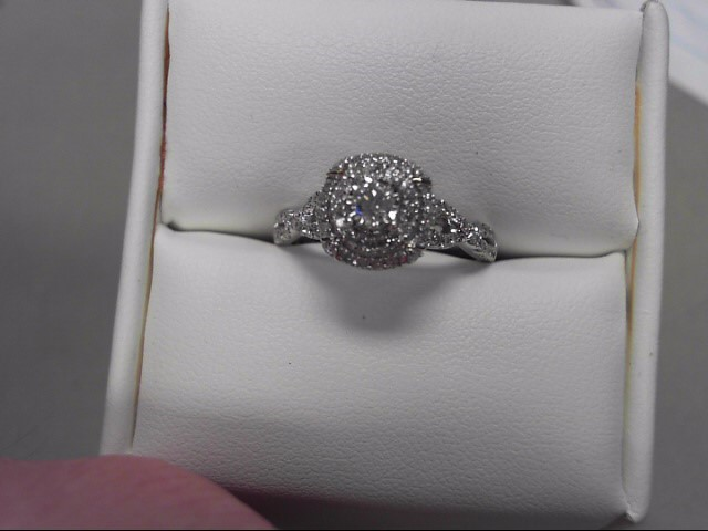 Lady's Diamond Engagement Ring 69 Diamonds .91 Carat T.W. 14K White Gold 3.81g