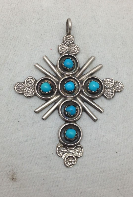 Sterling Silver Zuni Six Stone Turquoise Snake Eye Sunburst Cross Pendant
