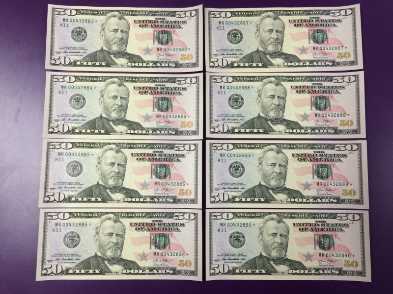 Lot of 8 Fifty Dollar $50.00 Federal Reserve Star Notes SEQUENTIAL!